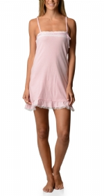 Bottoms Out Women's Jersey Lace Trim Chemise Nightie - Light Pink