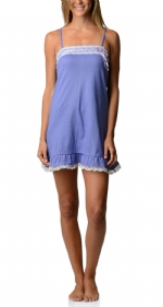 Bottoms Out Women's Jersey Lace Trim Chemise Nightie - Light Purple