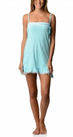 Bottoms Out Women's Jersey Lace Trim Chemise Nightie - Light Turquoise