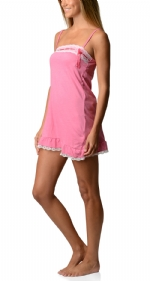 Bottoms Out Women's Jersey Lace Trim Chemise Nightie - Rose