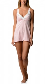 Bottoms Out Women's Lace Chemise Nightie - Light Pink