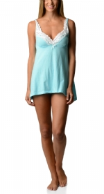 Bottoms Out Women's Lace Chemise Nightie - Light Turquoise