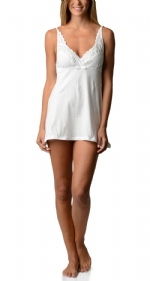 Bottoms Out Women's Lace Chemise Nightie - White