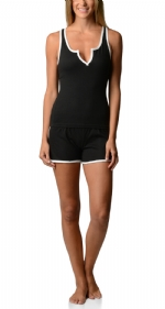 Bottoms Out Women's Knitted Tank and Short Pajama Set - Black