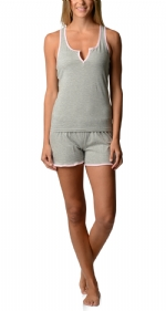 Bottoms Out Women's Knitted Tank and Short Pajama Set - Heather Grey