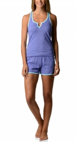 Bottoms Out Women's Knitted Tank and Short Pajama Set - Light Purple
