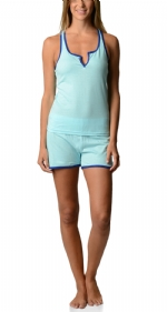 Bottoms Out Women's Knitted Tank and Short Pajama Set - Light Turqoise