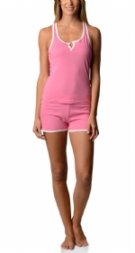 Bottoms Out Women's Knitted Tank and Short Pajama Set - Rose