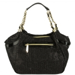 Betsey Johnson Flocked Cheetah Satchel - Black/Multi