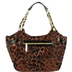 Betsey Johnson Flocked Cheetah Satchel - Gold