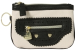 Betsey Johnson Biker Betsey Top Zip Wristlet - Cream