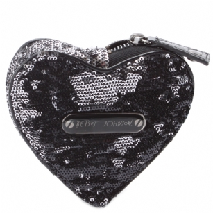 Betsey Johnson Glitzy Heart Coin Purse -Black - Betsey Johnson Heart Shaped Sequined Coin Purse; faux patent detail; gold zipper closure; logo plaque on front; animal print lining; 100% cotton lining