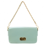 Prada BT0829 Patent Leather Messenger Bag - Light Blue