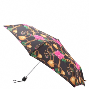 "Betseyville Heart & Chain Umbrella - Black - The Betseyville Heart & Chain Compact Umbrella -�Black features Waterproof Nylon All Over Print of Heart & Chain. �leave umbrella open to dry. clean using plain water only. 11"" when folded. Comes with a matching case."