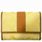 Coach 41889 Signature Compact Clutch Wallet - Natural/Lemon