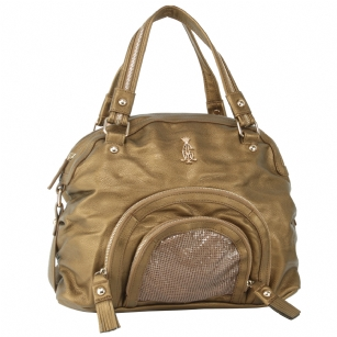 Christian Audigier Natural Charms Shannon Satchel  -Bronze - Add Charm to any outfit in this Christian Audigier�Natural Charms�Shannon Satchel.�This bag�is�from the�Natural Charms�collection.��It features�two front zippered pockets, fringes on each end�and�sequined detailing on the front pocket.� Zippered closure, double handles, gold hardware,� and interior zippered on open pockets.