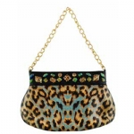 Christian Audigier Samantha Chain Link Handbag - Blue