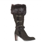 Cochni Suede Tall Dress Boots for Women - Brown