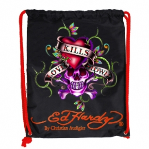 "Ed Hardy Drew Drawstring Love Kills Slowly Bag - Black - The Ed Hardy�Drawstring�Love Kills Slowly� Bag rocks a tattoo-inspired design that will keep you on the cutting edge of fashion. This backpack's� colorful eye-catching artwork integrates fashion with function, producing a backpack that is far cry from ordinary. Front features the ""LKS"" tattoo in�Brilliant color. Easy and lightweight includes a back zipper and yellow straps for easy carrying. This is perfect for traveling or everyday use!"
