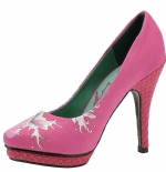 Ed Hardy Dirty Gold Pump Shoe for Women - Fuchsia
