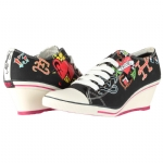 Ed Hardy Bret Wedge Heel Shoe for Women - Black
