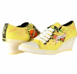 Ed Hardy Bret Wedge Heel Shoe for Women - Yellow