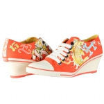 Ed Hardy Bret Wedge Heel Shoe for Women - Orange