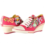 Ed Hardy Bret Wedge Heel Shoe for Women - Neon Fuchsia