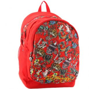 Ed Hardy Bruce All Over Collage-Red - The Ed Hardy Bruce All Over Collage-Red is perfect for Back to School or that Trendy kid that wants to look Hot and Fashionable. Front features the�tattoo�graphics in brilliant color�, printed text with the words Ed Hardy. Three zip pockets for plenty of storage, and additional pen compartment Top handle for easy carrying.�This backpack is the Latest 2011 Back to school release and includes mesh detail and plenty of padding which gives it extra durability!