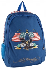 Ed Hardy Josh Embroidered American Eagle Backpack - Navy/Red