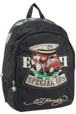 Ed Hardy Josh Embroidered Special Ops Bulldog Backpack - Black/Camo