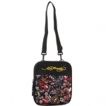 Ed Hardy Caprio All Over Collage Messenger Bag - Black