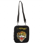 Ed Hardy Caprio Tiger Messenger Bag - Black