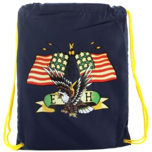 "Ed Hardy  Drew Drawstring American Eagle Bag - Navy - The Ed Hardy��Drew Drawstring American Eagle Bag -�Navy rocks a tattoo-inspired design that will keep you on the cutting edge of fashion. This backpack's� colorful eye-catching artwork integrates fashion with function, producing a backpack that is far cry from ordinary. Front features the ""American Eagle"" tattoo in�Brilliant color. Easy and lightweight includes a back zipper and yellow straps for easy carrying. This is perfect for traveling or everyday use!"
