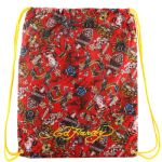 Ed Hardy Drew Drawstring All Over Collage  Bag - Red