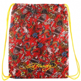 "Ed Hardy Drew Drawstring All Over Collage  Bag - Red - The Ed Hardy Drew Drawstring All Over Collage� Bag - Red rocks a tattoo-inspired design that will keep you on the cutting edge of fashion. This backpack's� colorful eye-catching artwork integrates fashion with function, producing a backpack that is far cry from ordinary. Front features the ""All Over"" tattoo in�Brilliant color. Easy and lightweight includes a back zipper and yellow straps for easy carrying. This is perfect for traveling or everyday use!"