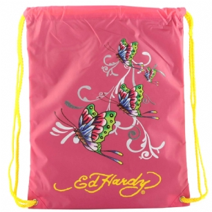 "Ed Hardy Drew Drawstring Glitter Butterfly  Bag - Hot Pink - The Ed Hardy�Drawstring�Glitter Butterfly�Bag rocks a tattoo-inspired design that will keep you on the cutting edge of fashion. This backpack's� colorful eye-catching artwork integrates fashion with function, producing a backpack that is far cry from ordinary. Front features the ""Butterfly"" tattoo in�Brilliant color. Easy and lightweight includes a back zipper and yellow straps for easy carrying. This is perfect for traveling or everyday use!"