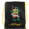 Ed Hardy  Drew Drawstring Flower Heart Bag - Black