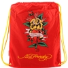 Ed Hardy Drew Drawstring  Flower Heart Bag - Red