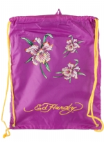 Ed Hardy Drew Drawstring Flower Heart  Bag - Violet Purple