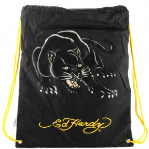 "Ed Hardy Drew Drawstring Panther  Bag - Black - The Ed Hardy�Drawstring�Panther�Bag rocks a tattoo-inspired design that will keep you on the cutting edge of fashion. This backpack's� colorful eye-catching artwork integrates fashion with function, producing a backpack that is far cry from ordinary. Front features the ""Panther"" tattoo in�Brilliant color. Easy and lightweight includes a back zipper and yellow straps for easy carrying. This is perfect for traveling or everyday use!"