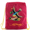 Ed Hardy Drew Drawstring Spring Sparrow  Bag - Berry
