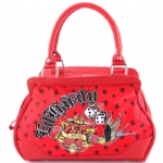Ed Hardy  Let It Ride Hattie Satchel Bag - Red