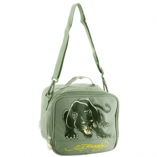 "Ed Hardy Shal Panther Lunchbox- Asphalt - The Ed Hardy Shal Panther Lunchbox- Asphalt will surely carry your lunch in style. Front features the ""Panther"" tattoo in Brilliant colors. Includes zip pocket for plenty of storage ,top handle and adjustable strap for easy carrying. Its interior is made of white plastic to keep your food cool and safe from leaking."