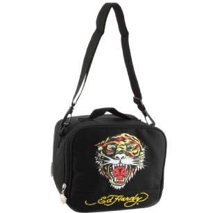 "Ed Hardy Shal Tiger  Lunchbox- Black - The Ed Hardy Shal Tiger Rhinestone Lunchbox- Black will surely carry your lunch in style. Front features the ""Tiger"" tattoo in Brilliant colors. Includes zip pocket for plenty of storage ,top handle and adjustable strap for easy carrying. Its interior is made of white plastic to keep your food cool and safe from leaking."