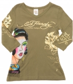 Ed Hardy Kids V-Neck Girls Tunic - Khaki