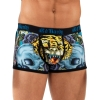 Ed Hardy Mens Open Mouth Tiger Neon Trunk Brief - Black