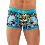 Ed Hardy Open Mouth Tiger Neon Trunk Brief - Blue