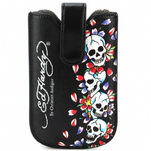 "Ed Hardy Universal Tiki Skulls Sleeve With Snap Case - The Ed Hardy�Universal�Tiki Skulls�Sleeve with Snap Case��is�a must have fashion accessory for your wireless lifestyle. It features include form-fitting case designed to perfectly fit your device,� protects your handheld from scratches and bumps and has snap closure.�It also has the Original Ed Hardy graphics and has printed text with the words��""Ed Hardy by Christian Audigier"". This Ed Hardy�universal sleeve case would make a great gift idea."