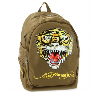 Ed Hardy Bruce Tiger Backpack - Brown - The Ed Hardy Bruce�Tiger Back Pack�perfect for Back to School or that Trendy kid that wants to look Hot and Fashionable. Front features the� tattoo�graphics in brilliant color�, printed text with the words Ed Hardy , Zip pockets for plenty of storage, Signature Ed Hardy Logo lining and�Top handle for easy carrying.��Includes a Free Gift with purchase,�3�Ed Hardy signature pens.�This backpack is the Latest 2010 Back to school release and includes mesh detail and plenty of padding which gives it extra durability!
